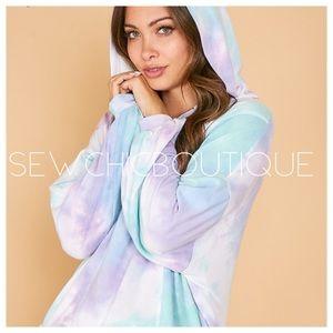 New! Tie Dye Printed Half ZIP Hooded Sweatshirt